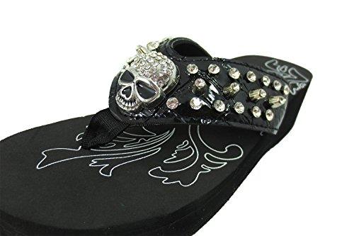 Western Gotisk Punkrock Skallen Och Metall Bling Dubbade Flip Flops Svart