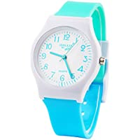Sunshine Boys Girls Watches,Teenagers Kids Student Time Wrist Watch Soft Comfortable Silicone Band Mini (Light Blue Green)