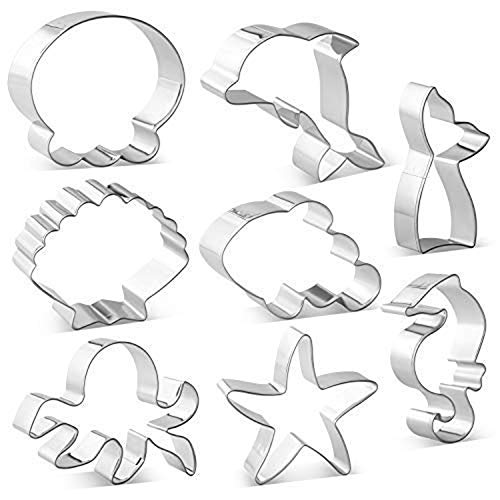 Metal Ocean Creature Mermaid Cookie Cutters Set - 8 PCS - Mermaid/Whale Tail, Dolphin, Octopus, Jellyfish, Clownfish, Seahorse, Starfish and Seashell Sea Animal Shape Biscuit Fondant Cutters (Sea Animal Shape)