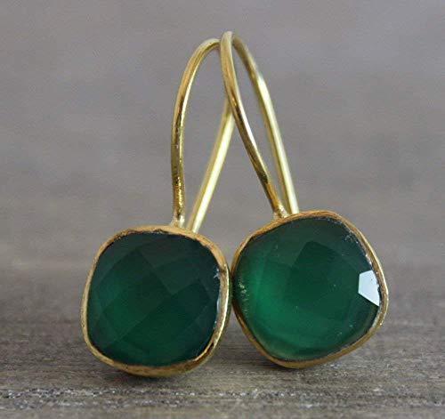 Gold Vermeil Onyx Earrings - Cushion Cut Green Onyx Gold Plated Sterling Silver Earrings