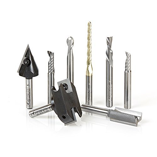 Amana Tool AMS-131 8-Pc CNC Signmaking Starter Router Bit Collection #II, 1/4 Inch Shank by Amana by Amana