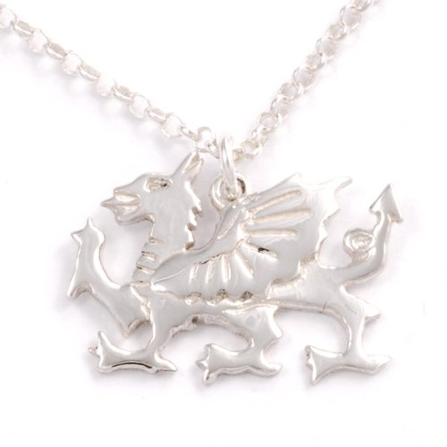 Silver Dragon Detailed Sterling Ring - St Justin, Silver Welsh Dragon Pendant - 18 Inch Belcher Chain