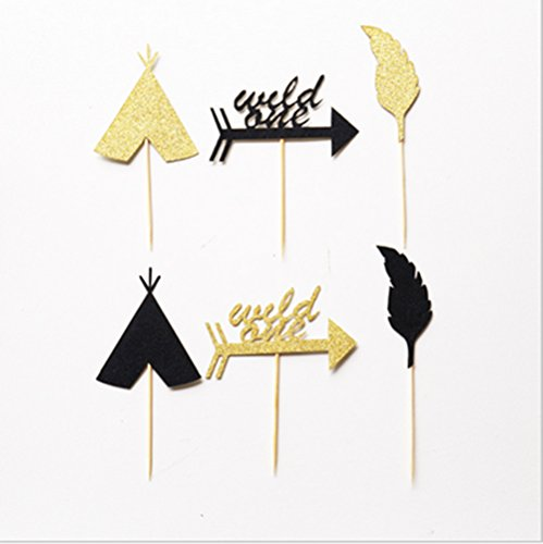 Rainlemon Wild One Glitter Gold Black Boy Birthday Party Cupcake Topper Cake Decoration -12 count Birthday Boy Cupcake