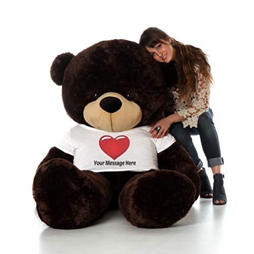 Giant Teddy Personalized Life Size 6 Foot Bear Cuddles with Red Heart T-Shirt (Chocolate Brown)
