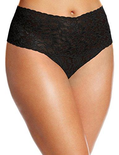Hanky Panky Women's Plus-Size Retro Thong Panty, Black, One Size
