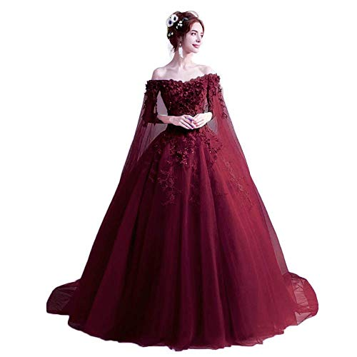 Unions Off The Shoulder Quinceanera Dresses for Women, Applique Masquerade Ball Gowns Prom Dress 2019 Dark Red