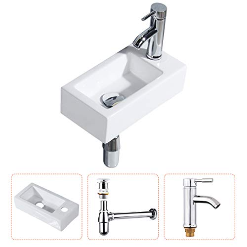 Gimify Bathroom Corner Sink Wall Hung Basin Rectangular Wall Mounted Small Cloakroom Sink Ceramic Modern in White - No Overflow Drain & Faucet Included
