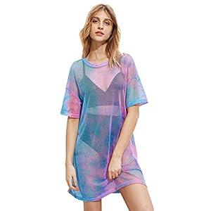 MakeMeChic Women's Beach Cover Ups Short Sleeve See Through Sheer Mesh Short Dress