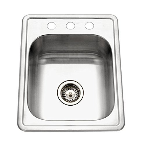 Houzer A1722-7BS-1 ADA Glowtone Series Topmount Stainless Steel 3-hole Bar/Prep Sink by HOUZER by HOUZER