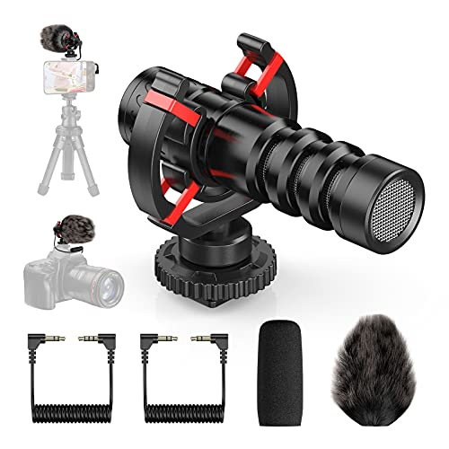 FirstPower Camera Microphone, Universal Video Microphone with Shock Mount, Windshield, Foam Cover and 3.5mm Conversion Cable - External Shotgun Microphone for Vlogging Camera/Smartphone