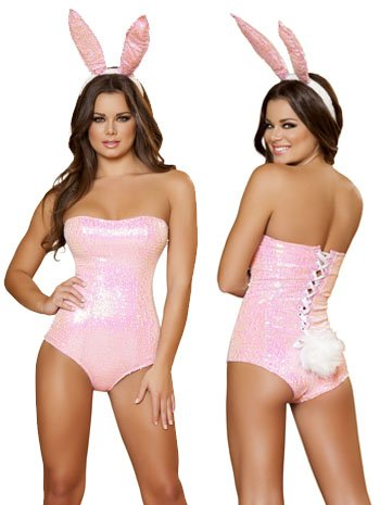Pink Sequin Bunny Costumes (Bunny Babe Costume - Medium - Dress Size 6)