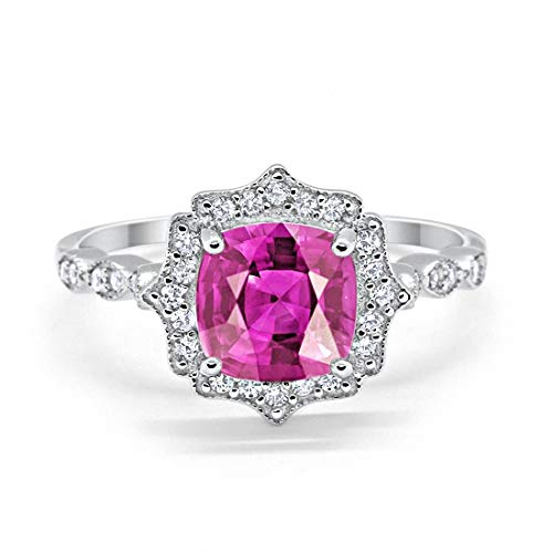 Blue Apple Co. Halo Art Deco Engagement Ring Cushion Round Simulated Pink Cubic Zirconia 925 Sterling Silver, Size-8