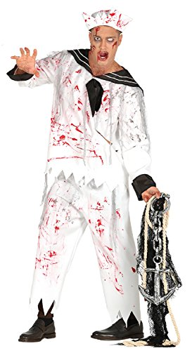 Mens Dead Bloody Zombie Sailor Navy Marine Scary Halloween Fancy Dress Costume Outfit M & L (Men: Large) -