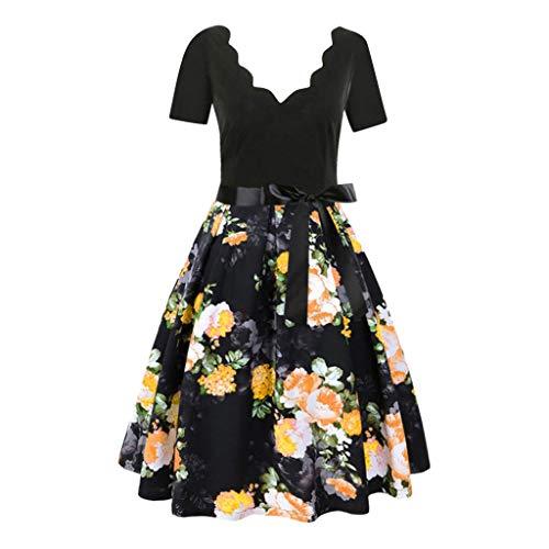 Aunimeifly Ladies Flower Trim V-Neck Short-Sleeved Printed Dress Bow Ribbon Lace-Up Elegant Swing Dress Yellow