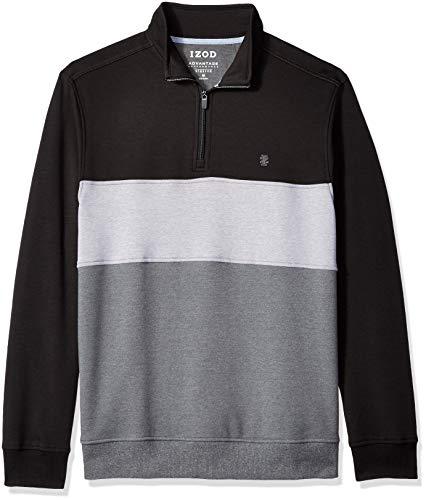 (IZOD Men's Advantage Performance Colorblock Quarter Zip Fleece Pullover, Block Black, X-Large)