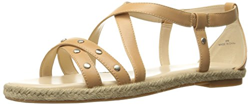 Nine West Women's Vilance Leather Dress Sandal,Natural,8.5 M US (Nine West Flat Sandals Women)