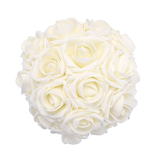 Ivory Rose Bridal Bouquet (Febou Artificial Flowers, 100pcs Real Touch Artificial Foam Roses Decoration DIY for Wedding Bridesmaid Bridal Bouquets Centerpieces, Party Decoration, Home Display (Concise Type, Ivory))
