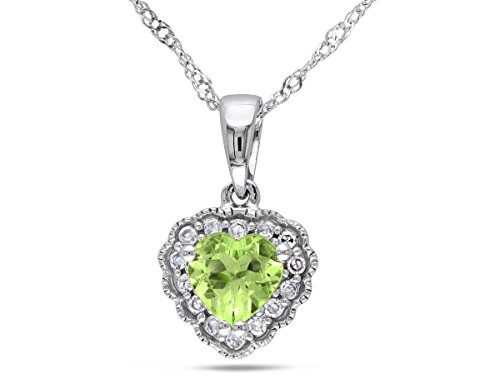 Ct 1/2 Diamond Necklace Heart (Peridot 1/2 Carat (ctw) Heart Pendant Necklace With Chain in 10K White Gold With Diamonds)