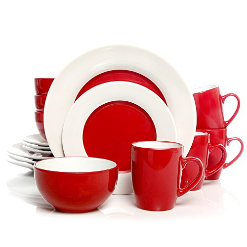 Gibson Home Style Deluxe Red Stoneware 16-Piece Dinnerware Set (Service for 4) For Sale