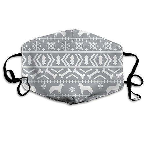 Unisex Mouth Mask Adjustable Anti Dust Face Mouth Mask,Australian Cattle Dog Xmas Fair Isle #5 Face Cotton Mask for Cycling Camping Travel ()
