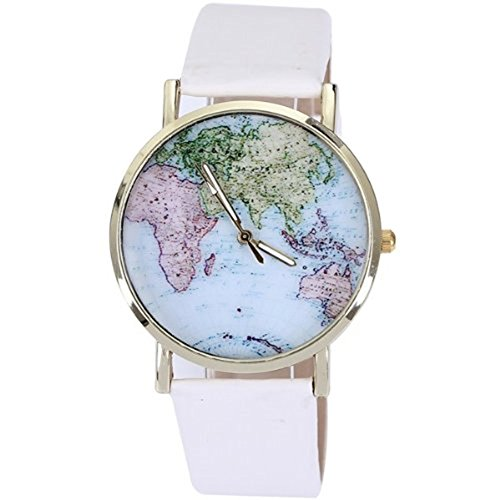 Price comparison product image New rose gold plated PU fashion leather watches quartz lady watch light color world map design for girls