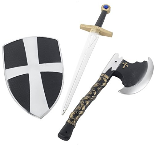 Smiffys Kids Crusader Set, White, Shield, Sword and