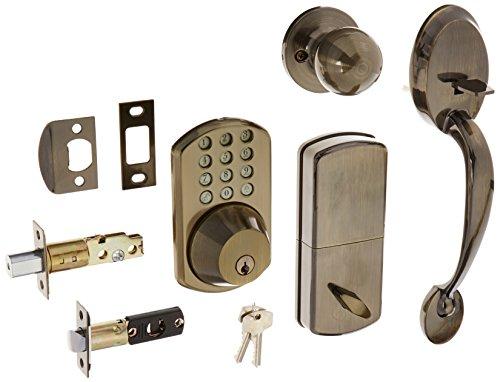 MiLocks BTF-02AQ Digital Deadbolt Door Lock and Passage Handle Set Combo with Keyless Entry via Keypad Code for Exterior Doors, Antique Brass