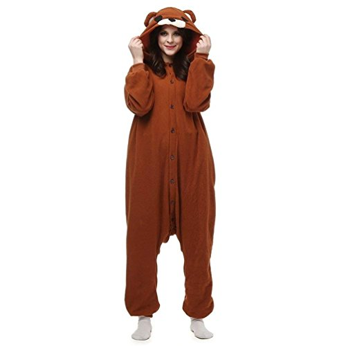 Ellystar Pijamas de Oso Cafe de Animal Pardo Adulto para Adultos y Adolescentes Oso Cafe M