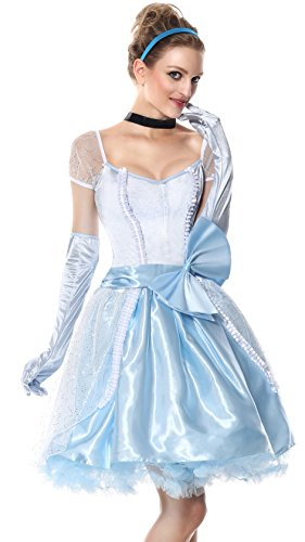 Cheap Princess Costumes For Adults (Sibeawen Women's Glass Slipper Cinderella Fairy Tale Costumes Blue Small/Medium)