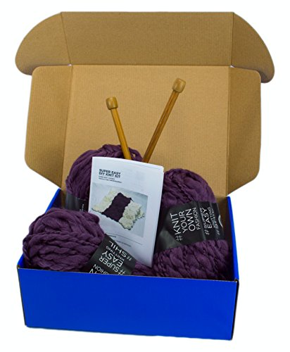 DIY Knitting Blanket Kit Super Soft Thick and Thin Bulky Yarn US 15 Needles (Dark Purple)