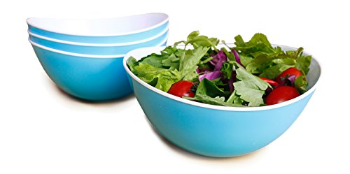 (Honla 48-oz Pasta/Salad Bowls,Set of 4,Unbreakable Plastic and Wavy Rim,2-Tone,Light Blue and White)