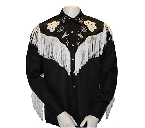 H Bar C HbarC Embroidered Western Shirt - The Taos - Cowboy Rodeo Rockabilly Style with Fringe & Pearl Snaps (Large, -