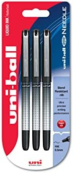 Uni-Ball UB-185S Eye Needle - Pack de 3 bolígrafos, 0.5 mm, color negro