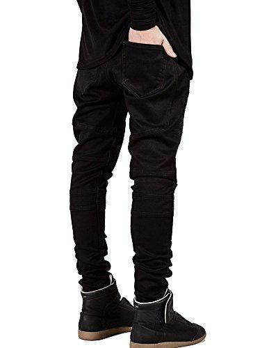 Jeans Conici Piega Nero Uomo Pantaloni Slim Skinny Fit Elasticizzati Casual pfw8Ewq