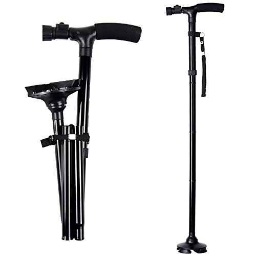 Ohuhu Folding Walking Cane with LED Light, Adjustable Walking Stick with Carrying Bag for Fathers...