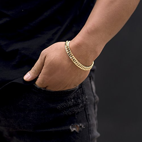 Lifetime Jewelry Cuban Link Bracelet 9MM, Round, 24K Gold with Inlaid Bronze, Premium Fashion Jewelry, Thick Layers Help Resist Tarnishing, 10 Inches by Lifetime Jewelry (Image #1)