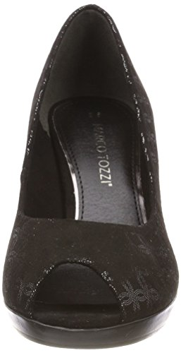 Noir EU Metallic Noir Ouvert Black Tozzi Bout Marco Femme 36 Escarpins 29302 Pzpx8B