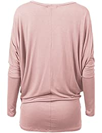 Womens Comfy Soft Cool Boat Neck Solid Long Sleeve Dolman Drape Top Tee