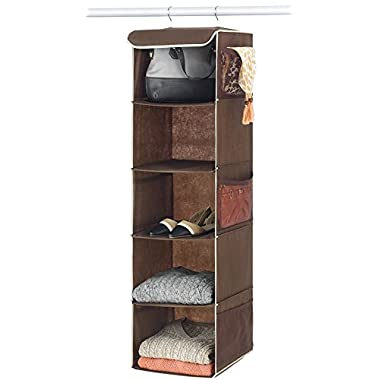 Zober 5-Shelf Hanging Closet Organizer for Accessory and Clothes Storage | Hanging Shelves for Shoe Hanging Storage, 12  wide x 11.5  deep x 42  tall