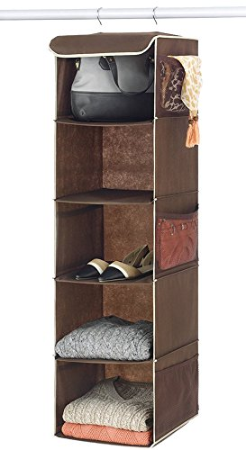 Zober 5-Shelf Hanging Closet Organizer - 6 Side Mesh Pockets Breathable Polypropylene Hanging Shelves - for Clothes Storage and Accessories, (Java) 12' x 11 ½ ' x 42'