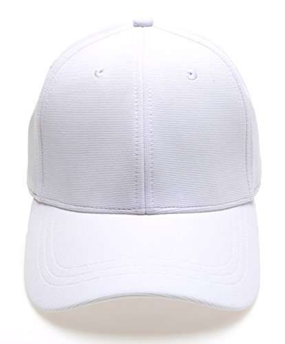MIRMARU Plain Polyester Twill Baseball Cap Hat with Flex fit Elastic - White Fit Hat Flex