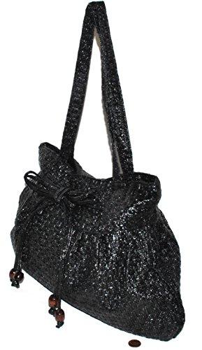 handbag Shoulder 21 Women Charming handle New black model Purse Top Bag closure Zipper text double EgqBaxvB