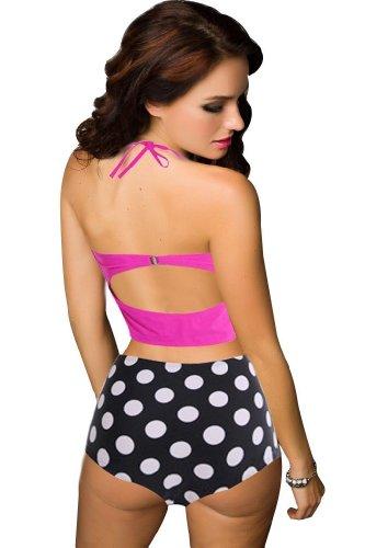 Vintage High Waist Bikini Sets Hot Pink Top+polka Dots Bottom (XL)