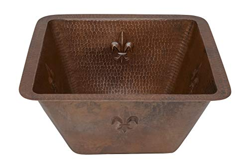 (Premier Copper Products BS15FDB2 15-Inch Universal Square Fleur De Lis Hammered Copper Bar Sink with 2-Inch Drain Size, Oil Rubbed Bronze)