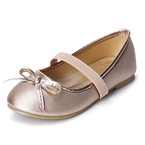 SANDALUP Girls Flats with Elastic Strap and Bow Knot Gold 13]()