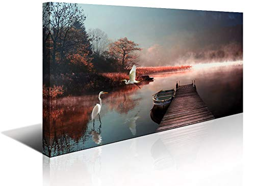 Wildlife Lake Canvas Prints Wall Art Decor for Living Room Dusk Landscape Picture Artwork Home Office Bedroom Wall Decoration Large Size]()