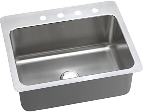 Elkay DPSSR2722101 20 Gauge Stainless Steel 27 x 22 x 10 Single Bowl Dual Universal Mount Kitchen Sink with 1 hole