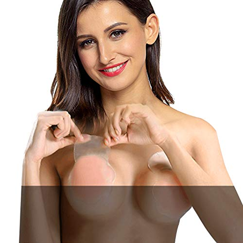 Nippleless covers, Silicone Reusable Breast Lift Nipple Cover Pasties for Women Best Diameter 4.3inch (1 Pair Breast Lift Pasties)