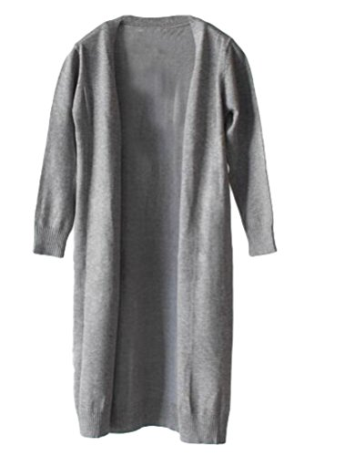 Mallimoda Girl's Long Sleeve Open Front Knit Cardigan Long Sweater Coat Grey 2-3 Years (Long Cardigan Girls)