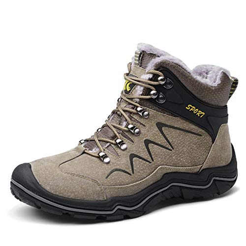 pizzo di 5 non Uomo Scarpa impermeabile foderato Lijun Winter 10 Dimensione Boots scivoloso in caldo Brown stivaletti Trekking pelliccia Snow qwTX8gp